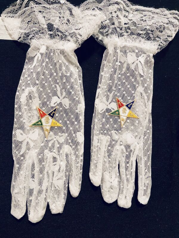 Masonic ( Eastern Star ) Stretch Lace OES Gloves