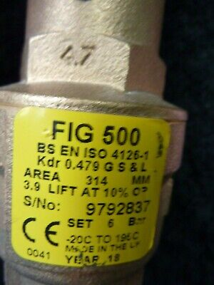 """NABIC FIG500 DN20 Highlift Safety Valve 3/4"""" x 1 1/4""""  SEE ALL PICTURES"""