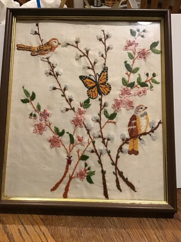 "Vintage hand embroidered picture birds butterfly lady bug flowers 12""x14"""