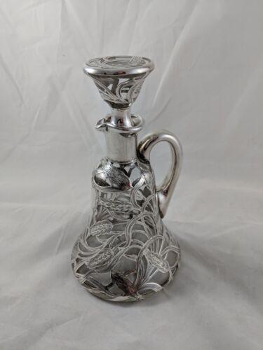 Alvin 999 Silver Overlay Glass Whiskey Decanter,  Wheat Design