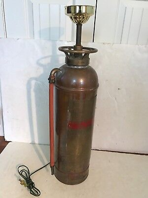 ANTIQUE WINTERGARDE PYRENE MFG. COPPER & BRASS FIRE EXTINGUISHER LAMP