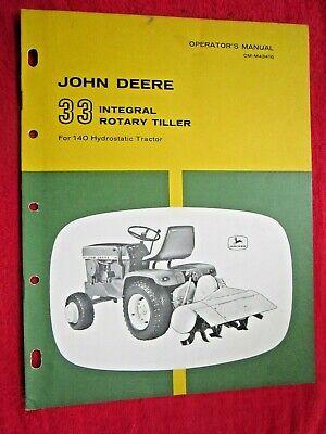 John Deere 140 Lawn Garden Tractor 33 Rotary Tiller Operators Manual Omm43416