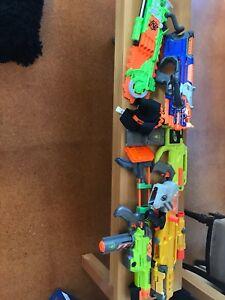 5 nerf guns and bandolier