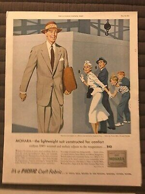 Pacific Craft Fabric~Mohara The Lightweight Suit~1952 Vintage Print AD B10