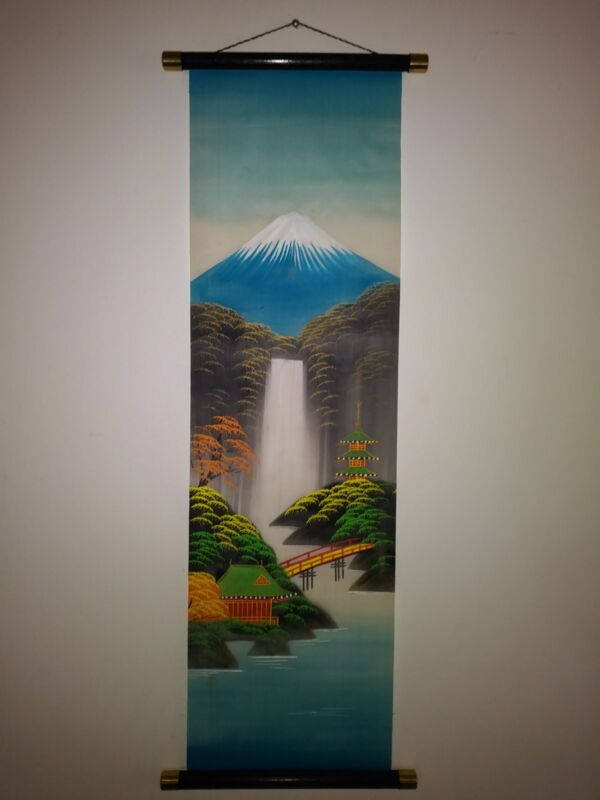 """VTG 70s Hand Painted Japanese Colorful Hanging Scroll 28""""x10"""""""
