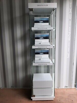 Bering Watch Lighted Led Glass Display Case Retail Jewelry 73 Chrome Locking