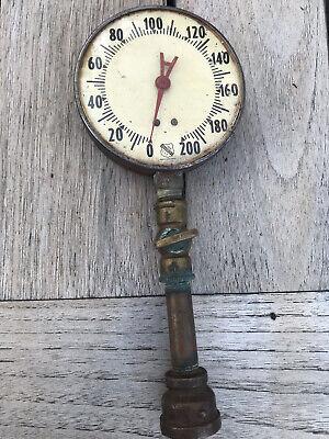 Vintage Brass Pressure Gauge By Ashcroft Usa Antique Steampunk