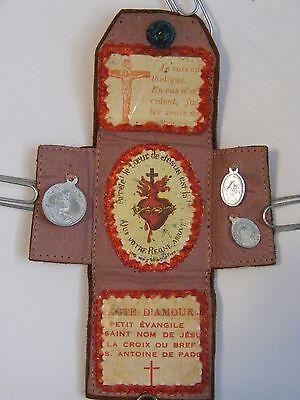 Vtg brown leather pocket protection prayer shrine medal scapular crucifix French