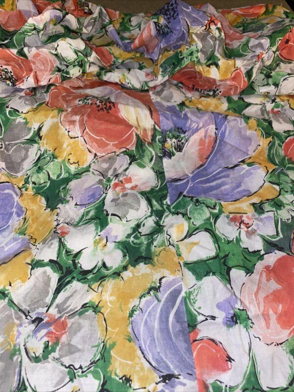 Vintage Floral Shower Curtain NOS