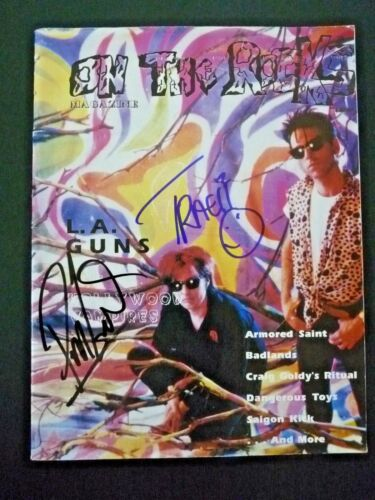 Phil Lewis & Tracii L.A. Guns Signed Autographed Magazine BAS  PSA Guaranteed #2