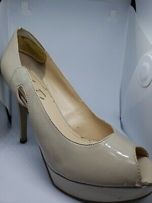 Nude Patent Leather (Marc Fisher Women's Nude Patent Leather Peep Toe Pump Heels Size 8M 4.5
