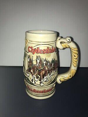 Budweiser 1983 Holiday Stein Mug Clydesdales Cameo Wheatland Ceramarte