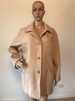 Vintage Hernan Kay Petite Beige Wool Coat Jacket Button Down A-Line 14P L/XL