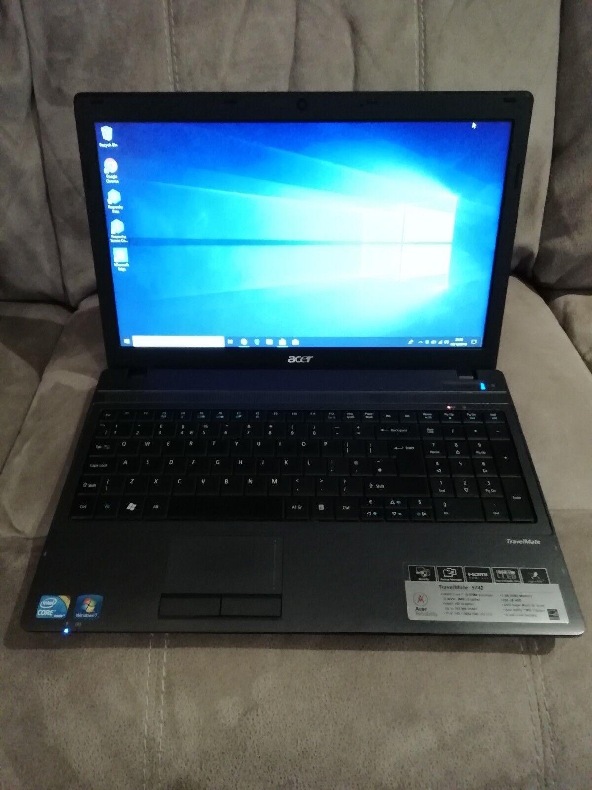 Laptop Windows - Acer Travel Mate 5742 Laptop Windows 10 - Intel i3 2.4GHz - 6GB RAM - 120GB SSD