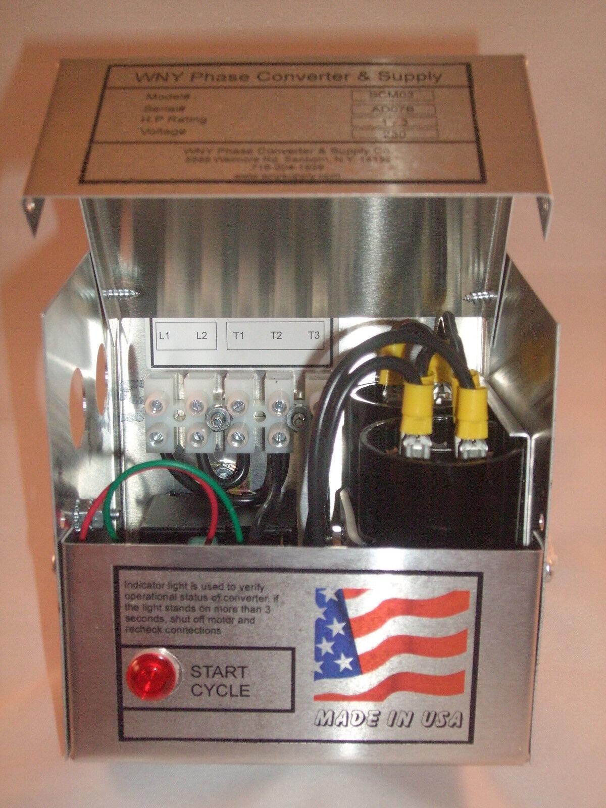 Heavy Duty 4-8 HP Static Phase Converter 208-250V Mill Drill IP65 60Day Warranty