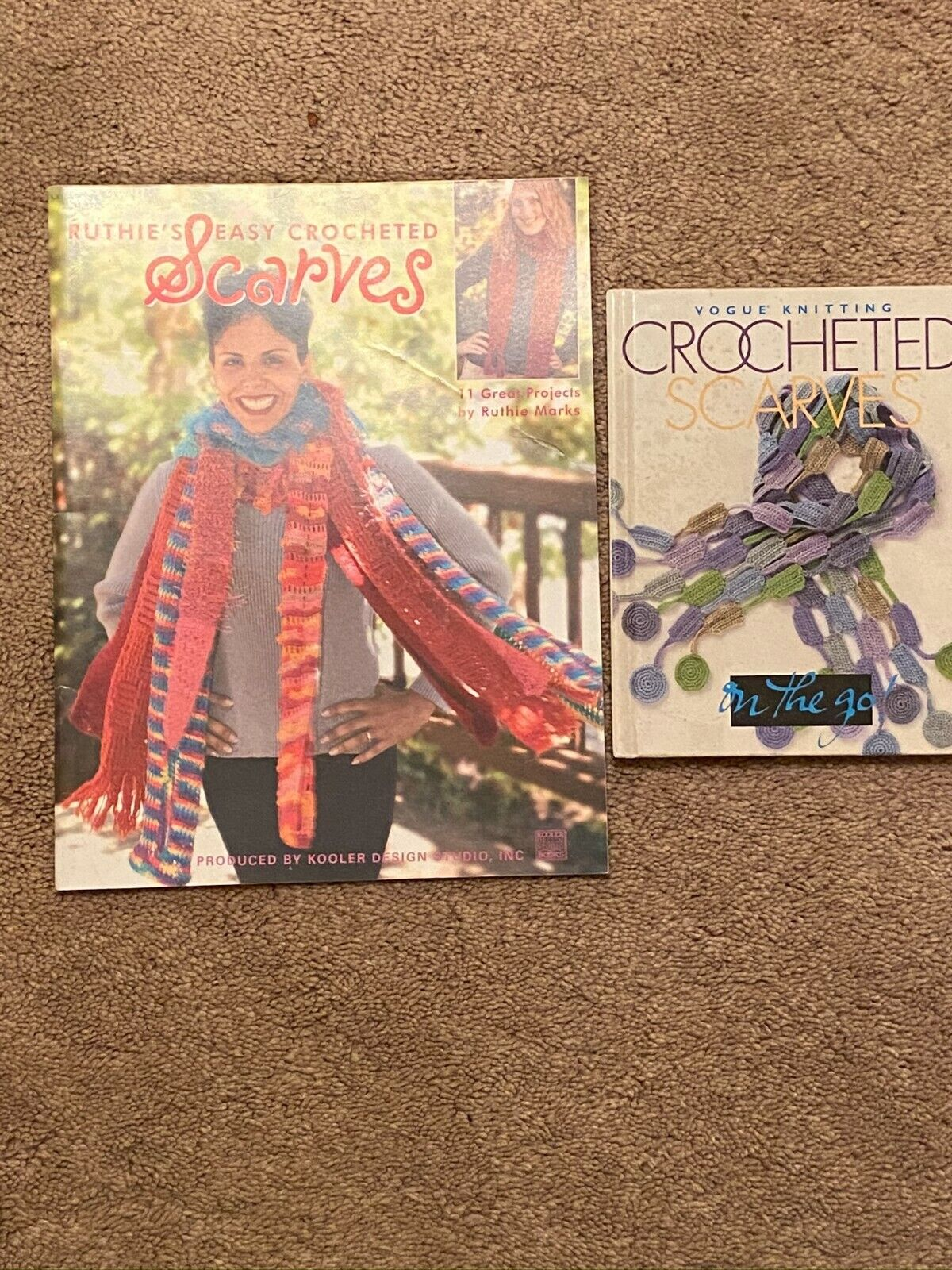 2 Vintage Crochet Scarf Pattern Book Booklet --Lot 1 - $2.64