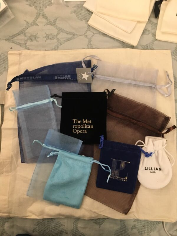 Mixed lot of 9 jewelry dust bags - new
