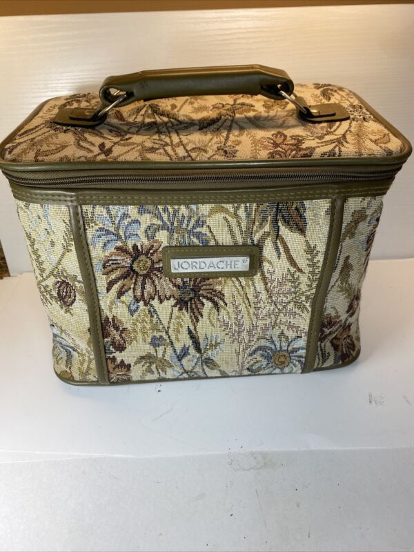 """Vintage Jordache Womens Tapestry Floral Bag Luggage Carry On Travel 12""""X9""""X8"""""""