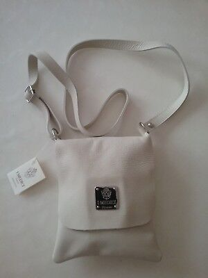 I Medici Firenze White Italian Soft Leather Crossbody Handbag Purse NEW