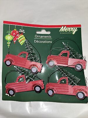 4 MINIATURE MINI Country Red Truck with Trees CHRISTMAS ORNAMENT