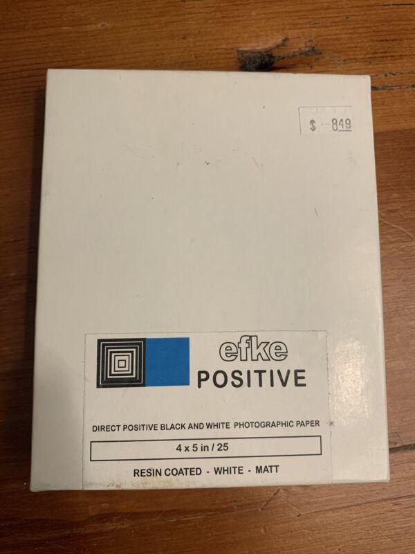 Rare efke 25 sheet Positive Direct Black White Photographic Paper 4x5