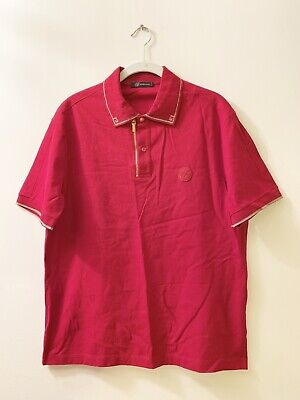 GIANNI VERSACE Size Large Men's Red Polo Shirt with Gold Trim and Zipper