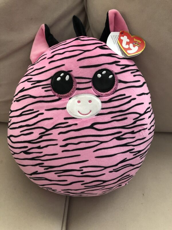 """Zoey pink Zebra Squish a Boo Ty 14"""" pillow large"""