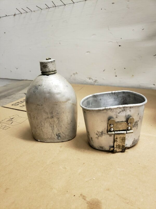 PRE WW1 FIRST PATTERN M1910  SEAMLESS CANTEEN AND ROCKING CUP!! SO HARD TO FIND!