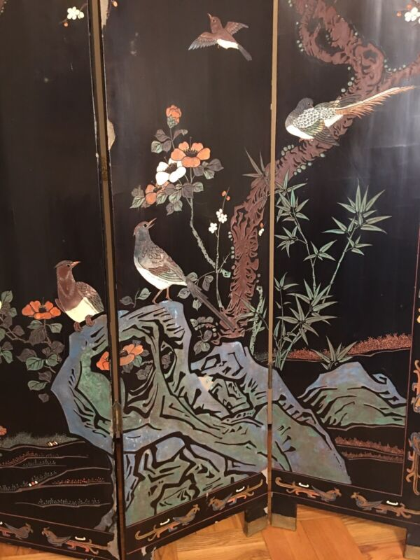 """ONE ANTIQUE 4-PANEL HAND-CARVED COROMANDEL SCREEN 64"""" WIDE X 72"""" HIGH"""