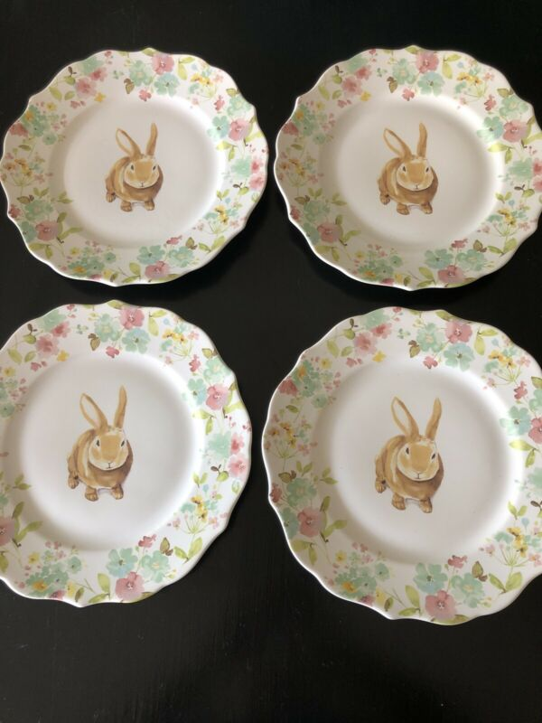 222 Fifth SYDNEY Easter Floral Bunny Rabbit 4 Dinner Plates Scalloped Edge
