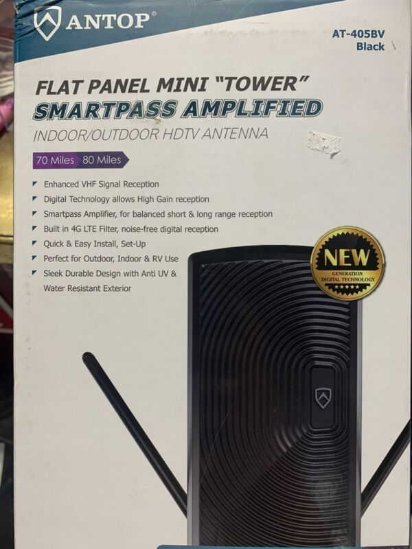 Antop AT-405BV 70 to 80-mile Range Mini Tower In/Out door TV Antenna Black