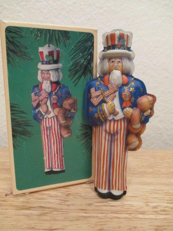 """Vintage Hallmark Keepsake Ornament 1984 Pressed Tin """"Uncle Sam"""" In Box"""