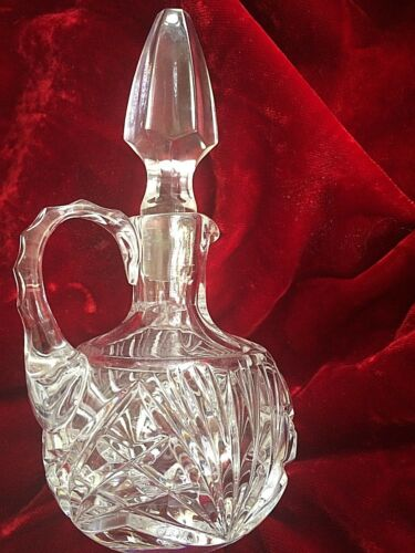 "Vintage Cruet w Stopper Pressed Glass 6.25"" Tall"