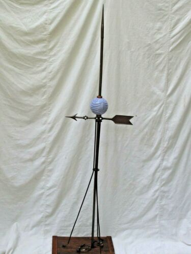Antique Lightning Rod with Glass Ball & Weather Vane Directional  Arrow