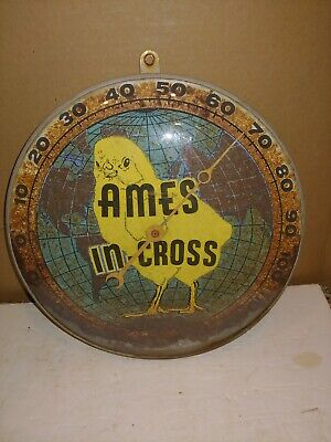 """Vintage 50's Ames In-Cross Chick Chicken Wall Thermometer,12"""" Round,Glass,Metal"""