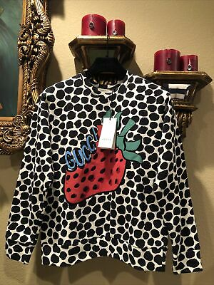 100% Authentic GUCCI Leopard Sweatshirt With Strawberry $1950+Tax Size: XS