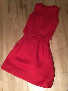 PINK TARTAN red skirt and top