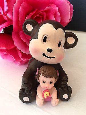 Monkey Cake Decorations (1PC Baby Shower Monkey Cake Topper Decorations Animals Safari Figurines)