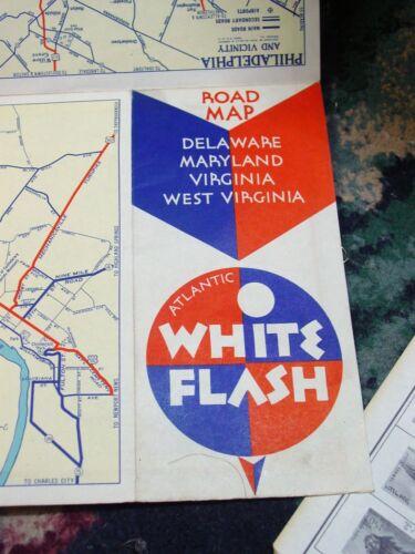antique 1930s Atlantic White Flash State Road Map Delaware Maryland Virginia WV