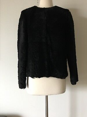 $3,025 ACNE STUDIO MEMPHIS LAMB SHEARLING BLACK CROPPED JACKET SIZE 34