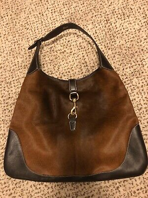 Gucci Handbag Authentic Jackie O Brown Leather & Horsehair Used. Small Edge Worn
