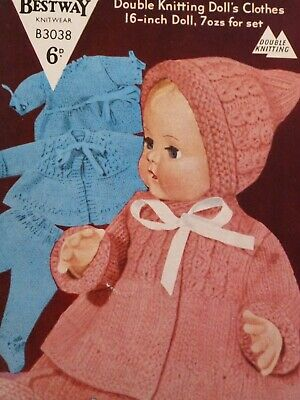 "Vintage 'Bestway' 16"" Tall Doll's Clothes DK Knitting Pattern 5 piece set."