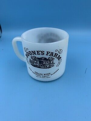 Vintage Federal White Milk Glass Coffee Mug Boone's Farm Red Wine Advertising
