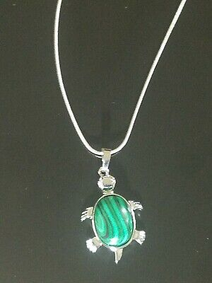 Malachite Turtle Necklace Gemstone Pendant on Sterling Silver Chain -