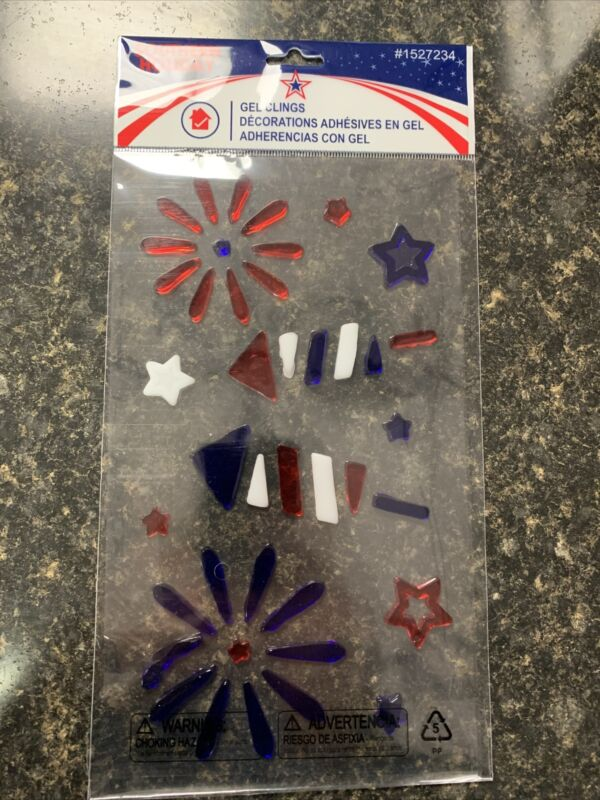 One Gel Indoor Window Cling USA Starburst 4th of July Decor 🇺🇸