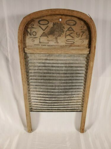 Antique Oval Oak #97 Galvanized Washboard Curved Top Silver City, NC Primitive