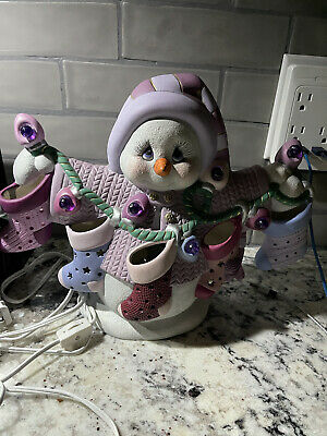 vintage ceramic lighted snowman 1986 Christma Holidays Kids Family