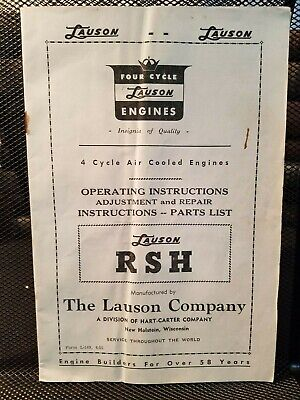Lauson Model Rsh 4-cycle Air Cooled Engines 1955 Operating Inst. Repair Parts