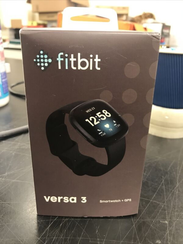 Fitbit Versa 3 Health and Fitness Smartwatch with GPS - Black Open Box