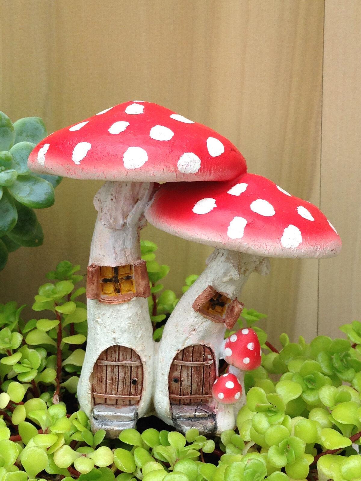 Miniature Dollhouse FAIRY GARDEN ~ Red Mushroom Houses with